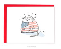 I'm With Whoever Feeds Me  Funny Cat Card  by jamieshelman on Etsy