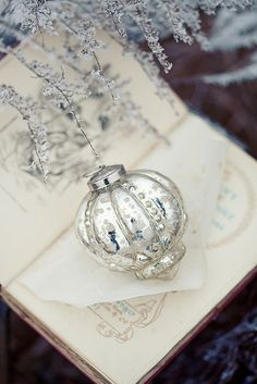 A beautiful mercury Christmas ornament.