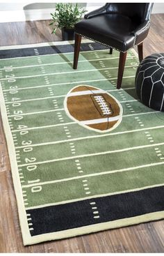 Rugs USA Keno Football Green Rug. Rugs USA pre Black Friday Sale up to 60% Off! Area rug, rug, carpet, design, style, home decor, interior design, pattern, home interior,  trends, home, statement, fall,design, autumn, cozy, sale, discount, interiors, house, free shipping, fall decorations, fall crafts, fall décor, great winter, winter, warm, furniture, chair, art.