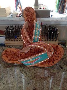 Hand tooled leather and beaded Flip Flops by Kasey Vanhoose Leather Carving, Leather Tooling, Tooled Leather, Cowgirl Style, Cowgirl Boots, Western Style, Glass Slipper, Leather Projects, Western Wear