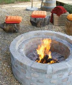 Concrete and brick firepit tutorial.