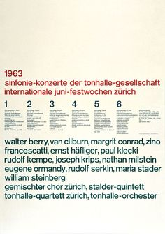 Poster by the swiss graphic designer Josef Muller Brockmann. Swiss style #brockmann #graphicdesign