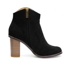 Yoins Heeled Suede Ankle Boots in Black