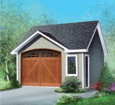 Ce joli garage avec toit en pignon est simple à réaliser. Il comprend une porte de garage et une fenêtre à l'avant, ainsi qu'une porte d'entrée du côté droit