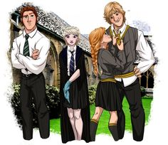 Hans, Elsa, Anna, and Kristoff. (Though I think Kristoff and Anna would be in Gryffindor, and Elsa could be in Slytherin as well)