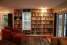 bookshelves with window