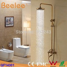 "194.49$  Buy here - http://alig7u.shopchina.info/go.php?t=32584658228 - ""Antique Brass Bathroom Rain Faucet Shower Set Mixer Tap Top 8"""" Shower Head +Telephone Handheld Shower Double Handles Faucet Set""  #buychinaproducts"