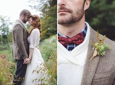 2014 Wedding Trends | Styled Grooms | We love the mixing of prints & that boutonniere