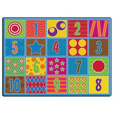 Carpet Kids Nylon Counting Fun Classroom Seating Rug Seats X Multi Color Modern Contemporary Rectangle Latex Free Map Rug, Childrens Rugs, Learning Numbers, Fun Learning, Carpet Trends, Cool Rugs, Carpet Stains, Mild Soap, Latex Free