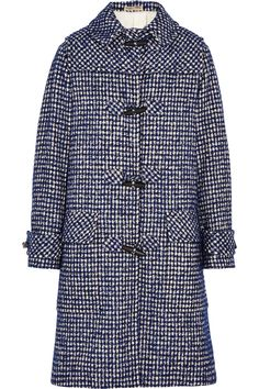 Bottega Veneta|Houndstooth wool-blend duffle coat|NET-A-PORTER.COM