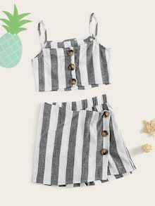 To find out about the Girls Striped Button Crop Cami Top & Skort Set at SHEIN, part of our latest Girls Two-piece Outfits ready to shop online today! Cute Girl Outfits, Kids Outfits Girls, Teen Fashion Outfits, Teenager Outfits, Urban Outfits, Cute Casual Outfits, Pretty Outfits, Kids Blouse Designs, Summer Outfits For Teens
