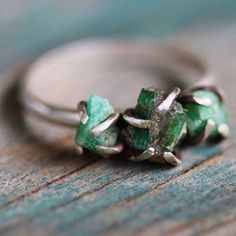 368293f46c262 Uncut Raw Rough Dark Green Emerald Ring - Sterling Silver Solitaire ...