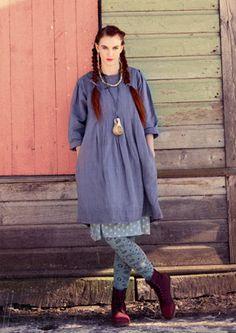 Kariertes Kleid aus Leinen/Baumwolle  Lavender?