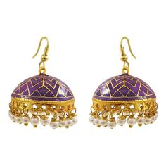 This purple meenakari tokri jhumki is made on a brass base polished in high gold and covered in meenakari / enameling in multiple colors. The ends of the tokri are decorated with pearl seeds in matching colors. Jhumki Earrings, Pearl Earrings, Drop Earrings, Wedding Wear, Wedding Engagement, Golden Color, Wedding Earrings, Beautiful Earrings, Earring Set