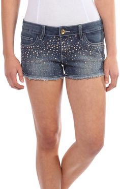 Deb Shops ymi denim shorts with rhinestone front