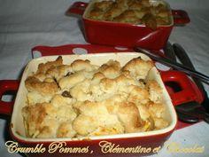 Crumble , pommes , clémentine et chocolat