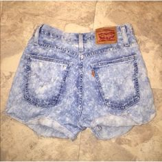 High waisted shorts Acid wash high waisted Levi's shorts Levi shorts denim shorts jean shorts Levi's vintage urban outfitters boho coachella festival redone re/done to fit better they are modern an made better speckled shorts bleach shorts one of a kind Urban Outfitters Shorts Jean Shorts