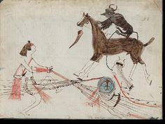 Sitting Bull fights a Crow, drawn by 4 Horns.  NAA