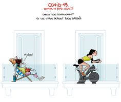 COVID19 - Journal de bord illustré, jour 25, by ©Nathalie Jomard #nathaliejomard #covid19 #coronavirus #illustration #humour #humor #confinement #quarantaine #quarantine #sport #woman #femme #balcon #comics #bd #dessin #drawing #funny #drôle #farniente #velodappartement #velo #bike Political Cartoons, Illustrations, Politics, Humor, Instagram, Idea Box, Sport, Drawing, Jokes