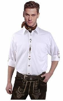 weißes Trachtenhemd mit Stickerei