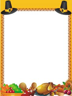 Great for Thanksgiving, this free, printable orange border is decorated with a turkey, stuffing, vegetables and buckled Pilgrim hats. Free to download and print.