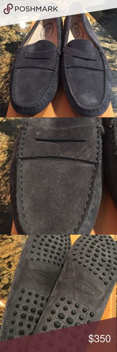 Tod's Gommini Moccasin Driving suede mocassino. Dark suede grey. Runs small. Order half size up. A classic driving mic designed with chic loafer styling. Finished with a nubby rubber sole. Brand new box and receipt included.  Bought at Nordstrom. Tod's Shoes Moccasins