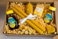 Large Raw Honey & Beeswax Candle Food Gift Box от emweddingfavors