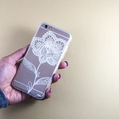 """Clear TPU Case Cover for iPhone 6 (4.7"""") Flower Lace Henna"""