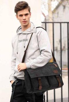 Canvas Laptop Bag, Canvas Messenger Bag, Messenger Bag Men, Cross Body Satchel, Work Handbag, Shoulder Bags For School, Waxed Canvas, Canvas Shoulder Bag, Leather Briefcase