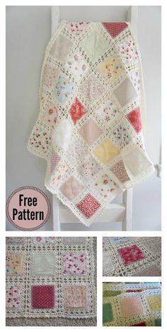 Crochet quilt pattern - High Tea Fusion Quilt Free Crochet Pattern and Video Tutorial – Crochet quilt pattern Crochet Afghans, Crochet Quilt Pattern, Crochet Fabric, Crochet Squares, Crochet Home, Crochet Blanket Patterns, Diy Crochet, Crochet Crafts, Crochet Stitches