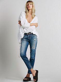 Free people.com:  Levi's 505 Customized Boyfriend Jeans