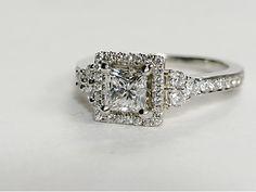 Monique Lhuillier Princess Halo Engagement Ring in Platinum  - Blue Nile
