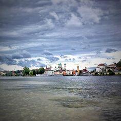 Danube meets Inn, Passau. River I, Landscape Pictures, Sky, Water, Passau, Heaven, Gripe Water, Scenery Paintings, Heavens