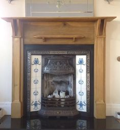 Lovely Original Cast Iron Fireplace Tiled High Safety Fireplaces, Mantels & Fireplace Accessories Antiques