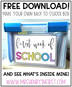 First Week of School BOX Back to School Organization! Create your own First Week of School Box! Back To School Night, Back To School Teacher, Meet The Teacher, 1st Day Of School, Beginning Of The School Year, School Classroom, School Week, Classroom Ideas, Back To School Ideas For Teachers