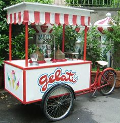 Crazy Art. ice cream cart with bicycle