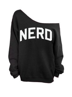 Nerd - Black Slouchy Oversized Sweatshirt by DentzDenim on Etsy