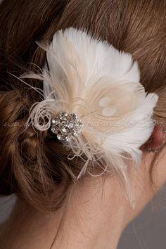 Hair Feather Fascinator, Ivory or Diamond White with Champagne Peacock Eye, Bridal Hair Birdcage Fascinator, Rhinestone Center - Justa. $49.95, via Etsy.