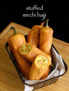stuffed mirchi bajji recipe   stuffed menasinakai bajji   milagai bajji recipe - http://hebbarskitchen.com/stuffed-mirchi-bajji-recipe-menasinakai/