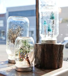 Apartment Therapy shows us how to make mason jar snow-globes.
