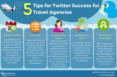 5 Tips for Twitter Success for Travel Agencies  Twitter is the second most used social media platform after Facebook, and a great marketing tool for travel brands if used well. Here are some effective tips for Travel Agencies using Twitter to promote their brand.  For more useful tips and tricks on how you can use social media to win clients, download our free ebook.