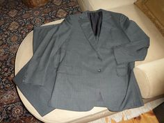 The Andover Shop - Grey Stripe Suit (wool, 2-button, single vented, half lined, flat front trousers)