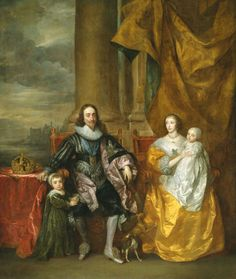 """Charles I and Henrietta Maria with their two eldest children, Prince Charles and Princess Mary"", Sir Anthony van Dyck, 1632; Royal Collection Trust 405353"