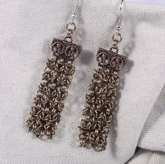Steampunk Chainmaille Bronze Waterfall Earrings / by ChainPunk
