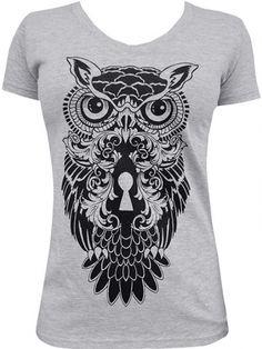 "Women's ""Night Watch"" V Neck Tee by Black Market Art (Heather Grey) #inkedshop #owl #nightwatch #grey #womenstee"