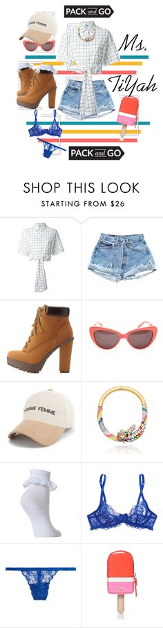 """Pack and Go: Labor Day"" by ggtia ❤ liked on Polyvore featuring MSGM, Charlotte Russe, Prism, Shourouk, L'Agent By Agent Provocateur, Cosabella and Kate Spade"