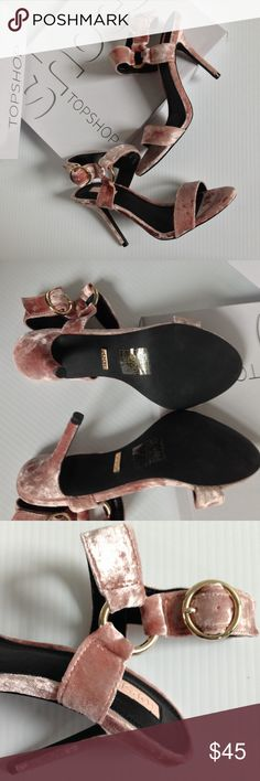 """TOPSHOP Renee Nude Blush Sandals Heels TopShop Renee Nude velvet like sandals with heels. Size 8.5 USA. Shoes show 6/39 which is 6 UK and 39 Euro. NEW with box. Heel is approx 4"""" Topshop Shoes Heels"""