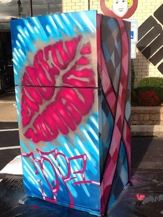 Refrigerator painted by Graffiti Artist Leon Rainbow