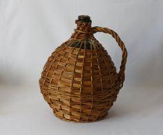 Dame-Jeanne Demi-John en verre vintage Français - Grosse bouteille  - vase - décoration vintage - Style boho kinfolk  - dame jeanne osier