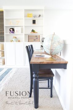 This on trend rich dark blue on the edge of black is bound to make a statement and enrich any piece. NOTE: Dark colors such as Coak Black may show marks and fingerprints. We suggest applying a finishing layer of Beeswax Finish or Tough Coat to protect it. Wall Mounted Table Kitchen, Wall Mounted Desk, Kitchen Tables, Kitchen Ideas, Design Kitchen, Repurposed Furniture, Diy Furniture, Office Furniture, Furniture Refinishing